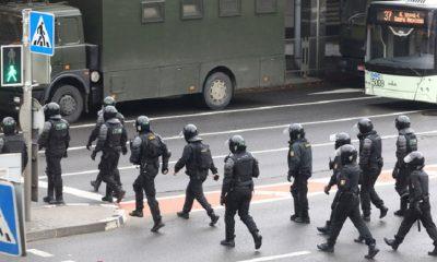 скопление силовиков и спецтехники в Минске
